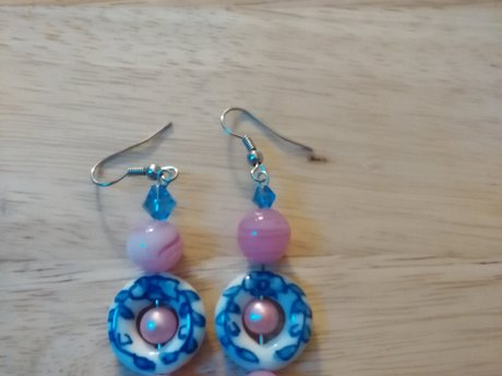 Antique Blue, White Pink Earrings