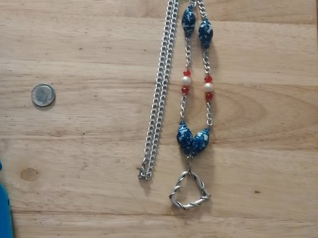 Antique Red, White and Blue necklac
