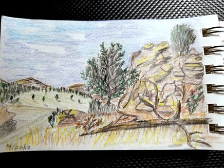 3.5 x 5 in. Landscape Drawing