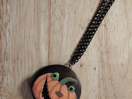 Crazy Pumpkin Halloween Necklace