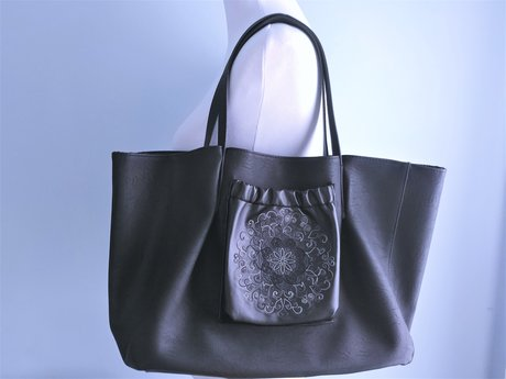 Faux-Leather Carryall w/Embroidery