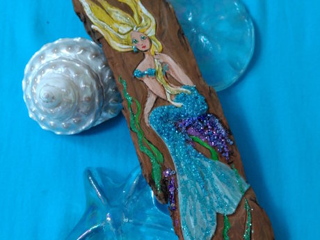 Mermaid art on driftwood (11x3)