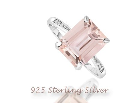 Sterling silver and morganite ring