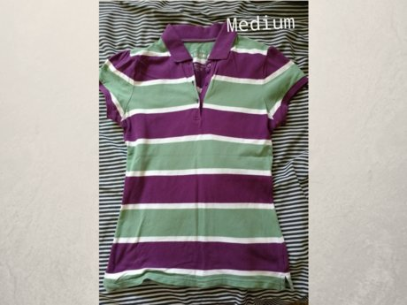 Green and purple striped shirt