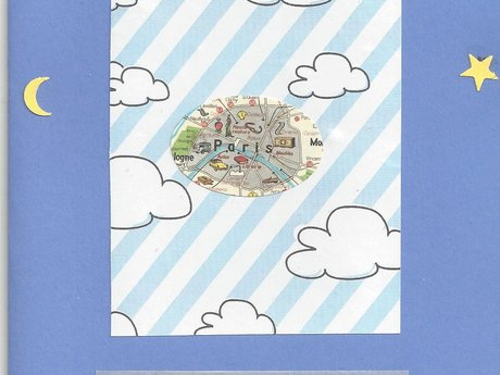 Handmade Blue Blank Card w/ Paris
