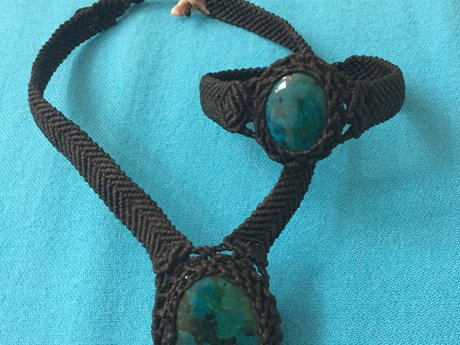 Chrysocolla necklace and bracelet
