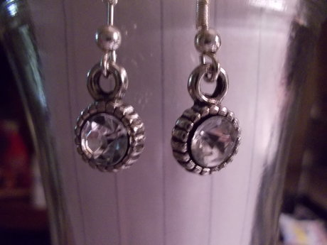 Silver tone earrings with crystals