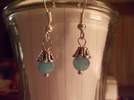 sky blue ball earrings