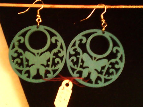 blue wood butterfly earrings