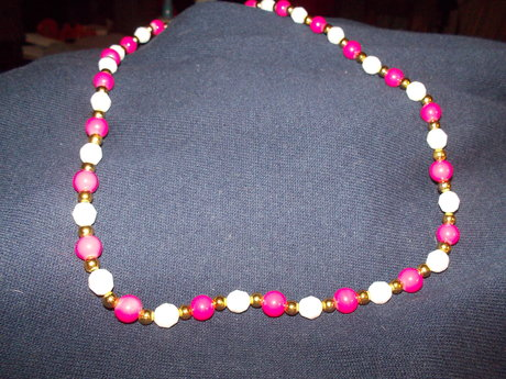 Pink and white bead necklace
