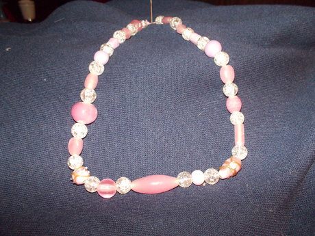Crystal and Pink Bead Necklace