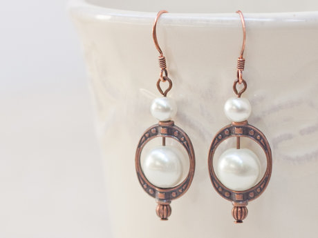Glass Pearl Round Beaded Earrings