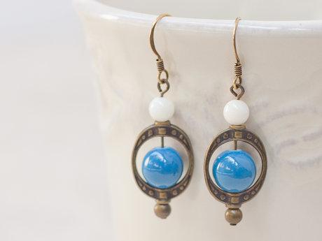 Blue Glass Round Beaded Earrings