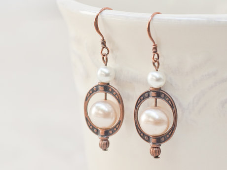 Round Glass Pearl Beaded Earrings