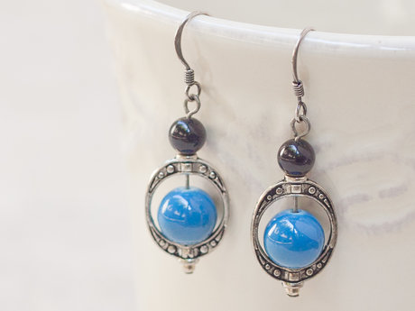Blue / Black Glass Beaded Earrings