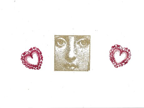 Valentine card-hearts and gold face