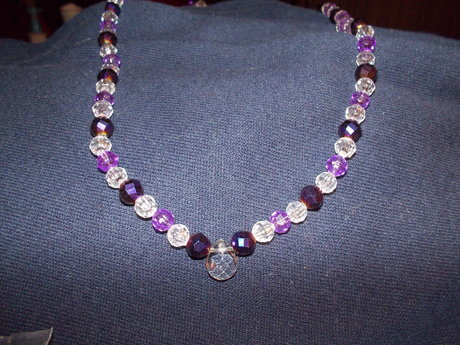 purple and clear necklace