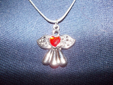 silver tone angel necklace