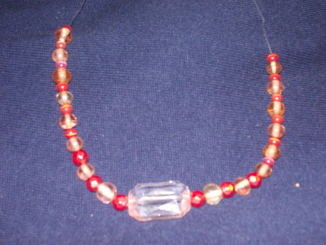 peach and clear necklace