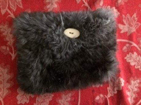 Black/Grey Fur Purse/Pouch