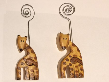 Giraffe Wooden Place Card Holders