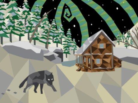 Wolf at Night Postcard
