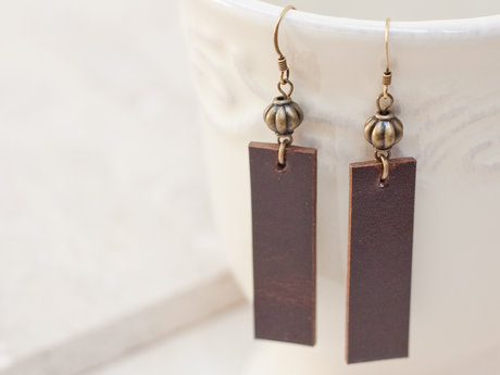 Brown Leather Rectangular Earrings