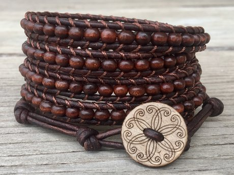Handmade brown leather bracelet