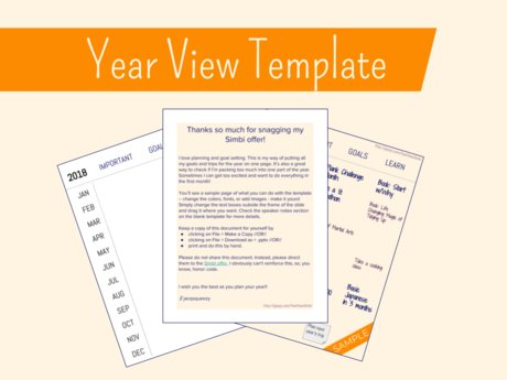 Year View Template for your goals