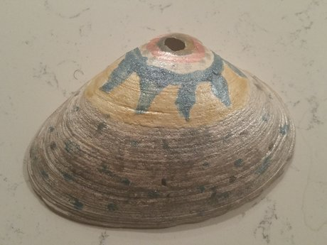 Decoratively painted seashell