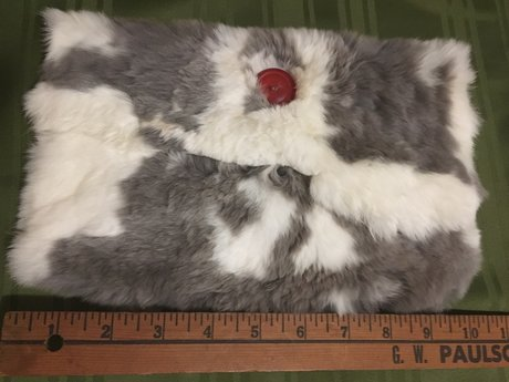 White and grey fur purse/pouch