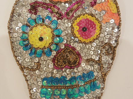Sequin Skull Pouch