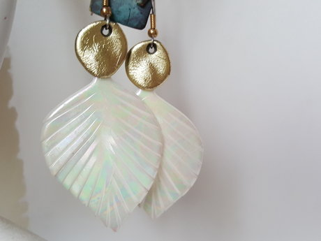 Polymer opal finish feather earring