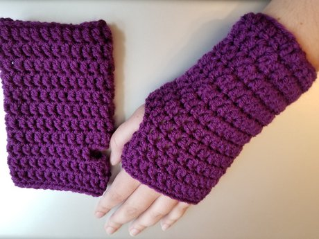 Pair of Purple Fingerless Gloves