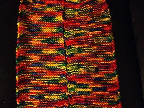 Handmade Knitted Rainbow Scarf