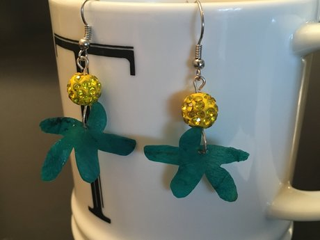 Blue Flower Kombucha Earrings