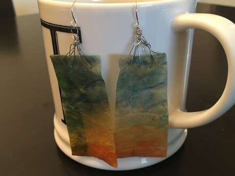 Beach Watercolor Kombucha earrings