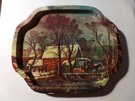 6 metal country coasters/trays