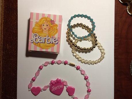 Barbie necklace + 3 bracelets