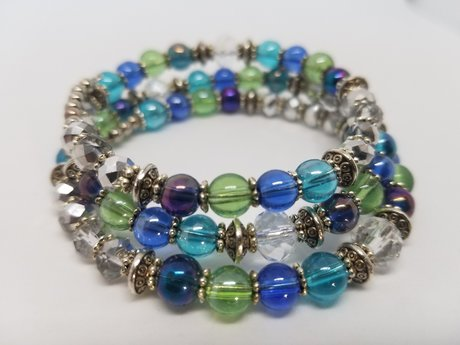Blue Green Statement Bracelet