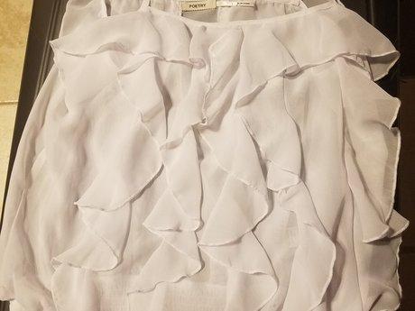 White ruffle top