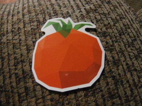 Pixelated Orange Fruit Sticker