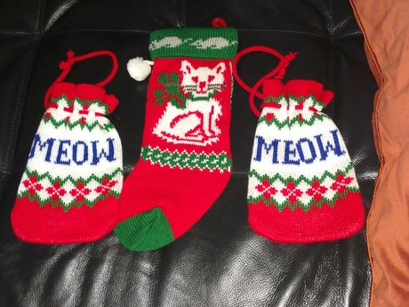 3 Cat Christmas Stockings