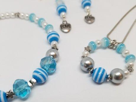 Denim Blue Striped Jewelry Set