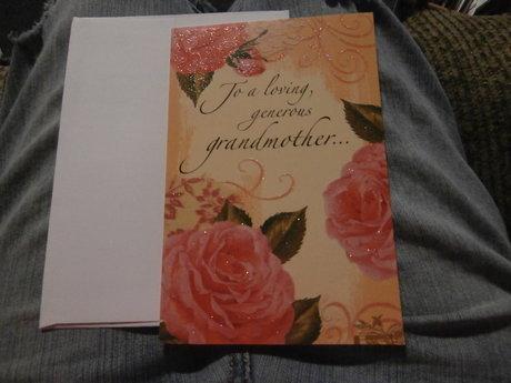glittery grandmother birthday card