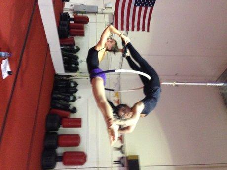 Aerial hoop acrobatics
