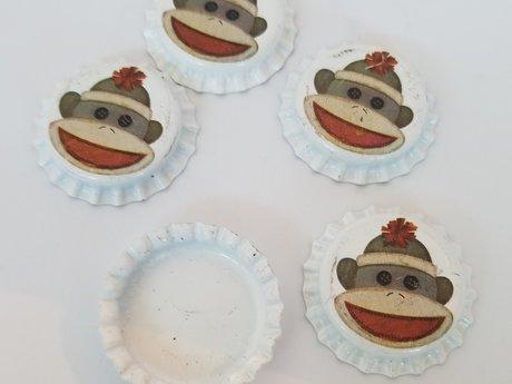 Sock Monkey Bottle caps