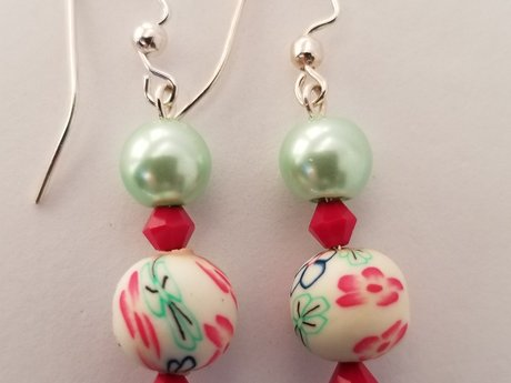 Lime & Red Earrings