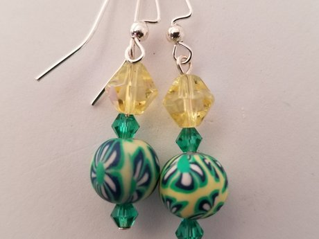 Green Yellow Earrings