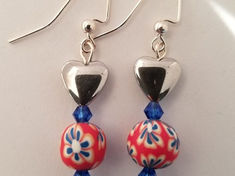 Red Blue Hearts Earrings